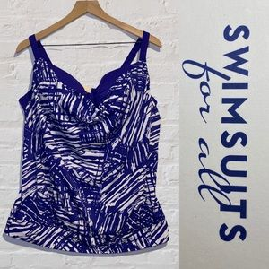 Swimsuits For All Women's Size 38D Tankini Top NWT